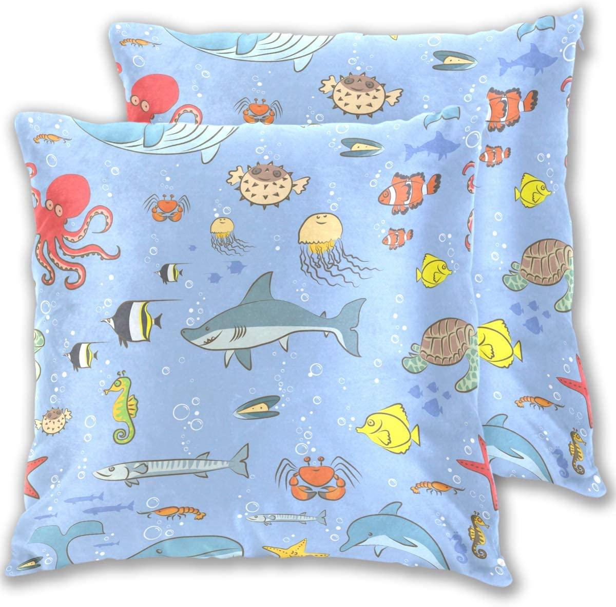 senya Pack of 2, Velvet Soft Decorative Square Throw Pillow Covers Set Blue Shark Fishes Cushion Case for Sofa Bedroom Car 18 x 18 Inch(l)