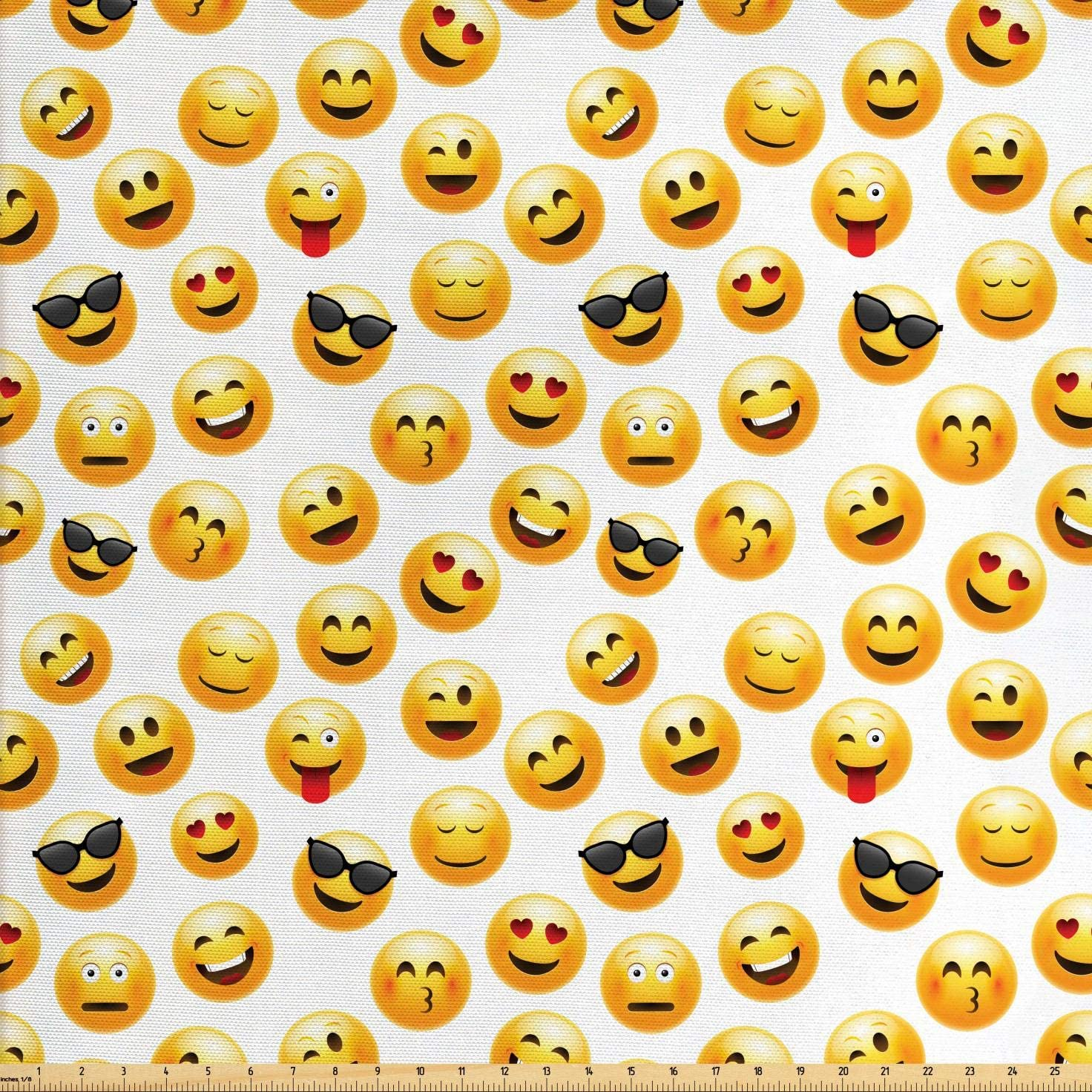 Ambesonne Emoji Fabric by The Yard, Smiley Face Character Illustration Feeling Happy Surprised Cool and in Love, Decorative Fabric for Upholstery and Home Accents, 5 Yards, Yellow Black