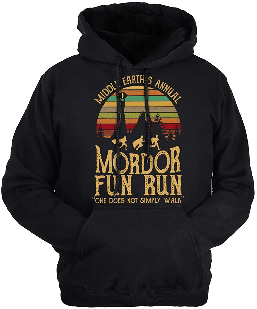Lontse Middle Earth's Annual,Mordor Fun Run,One Does Not Simply Walk Hoodie Sweatshirt Pullover for Men