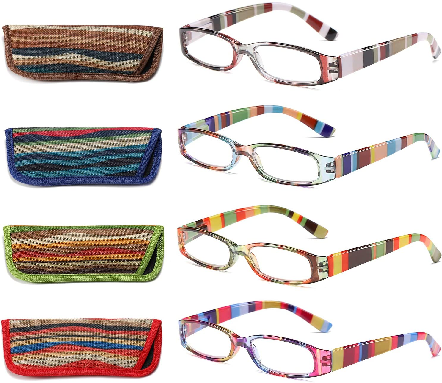 Reading Glasses 4 Pairs Fashion Ladies Readers Spring Hinge with Pattern Print Eyeglasses for Women,+1.50 Diopters