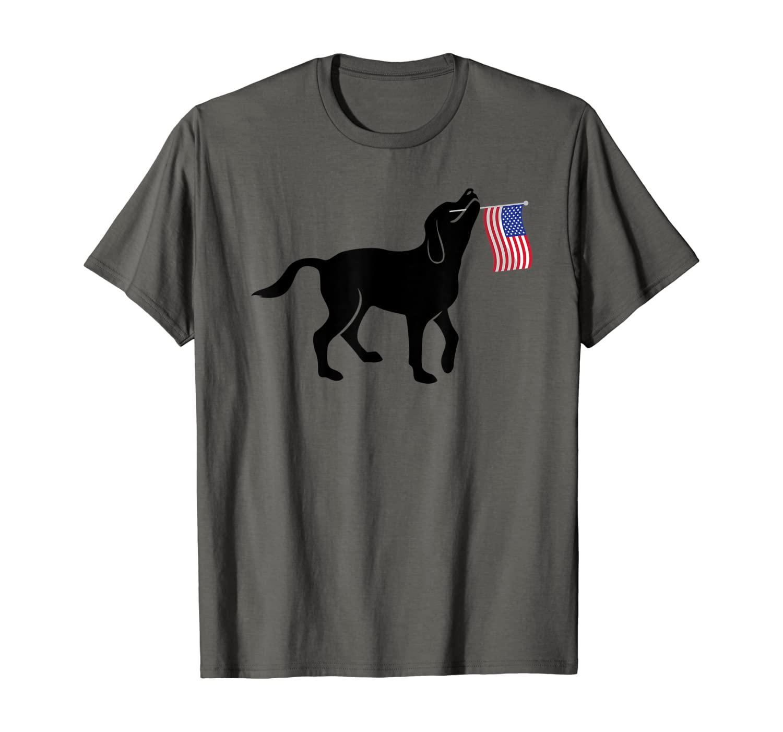 Black Lab Dog Holding July 4th Patriotic USA Flag T-Shirt