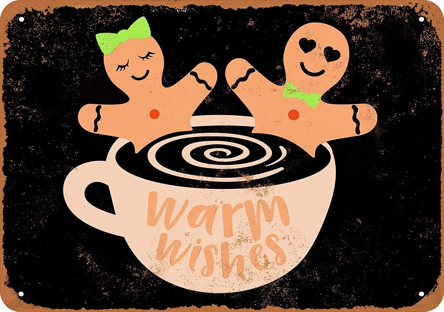 QDTrade Tin Signs Metal Vintage Look 12 x 16 inch - Warm Wishes Gingerbreads in Hot Tub