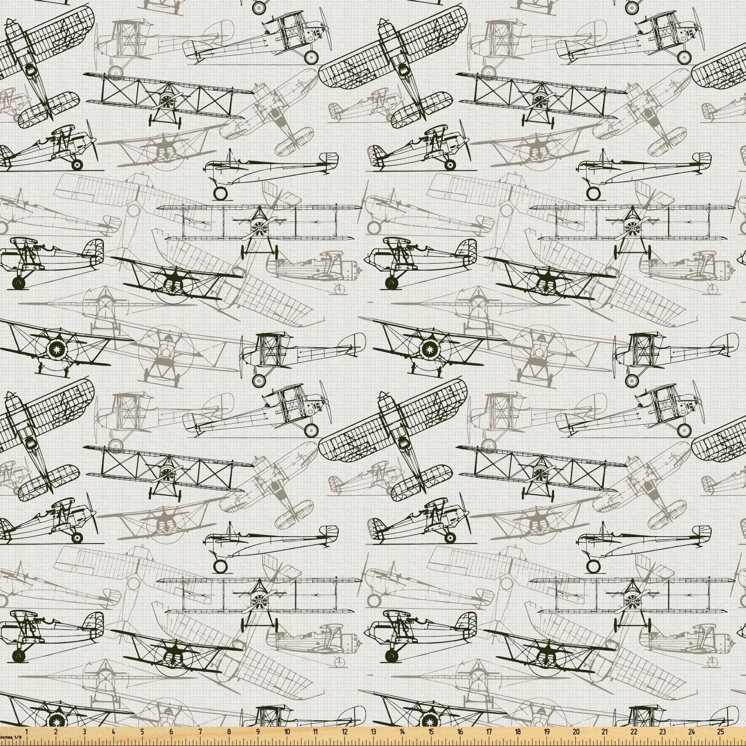 Ambesonne Airplane Fabric by The Yard, Old Fashioned Transportation Hand Drawn Style Vintage Pattern, Microfiber Fabric for Arts and Crafts Textiles & Decor, 5 Yards, Olive Green