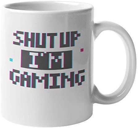 Shut Up I'm Gaming Coffee & Tea Mug Cup, Sign & Room Decor for Gamer (11oz)