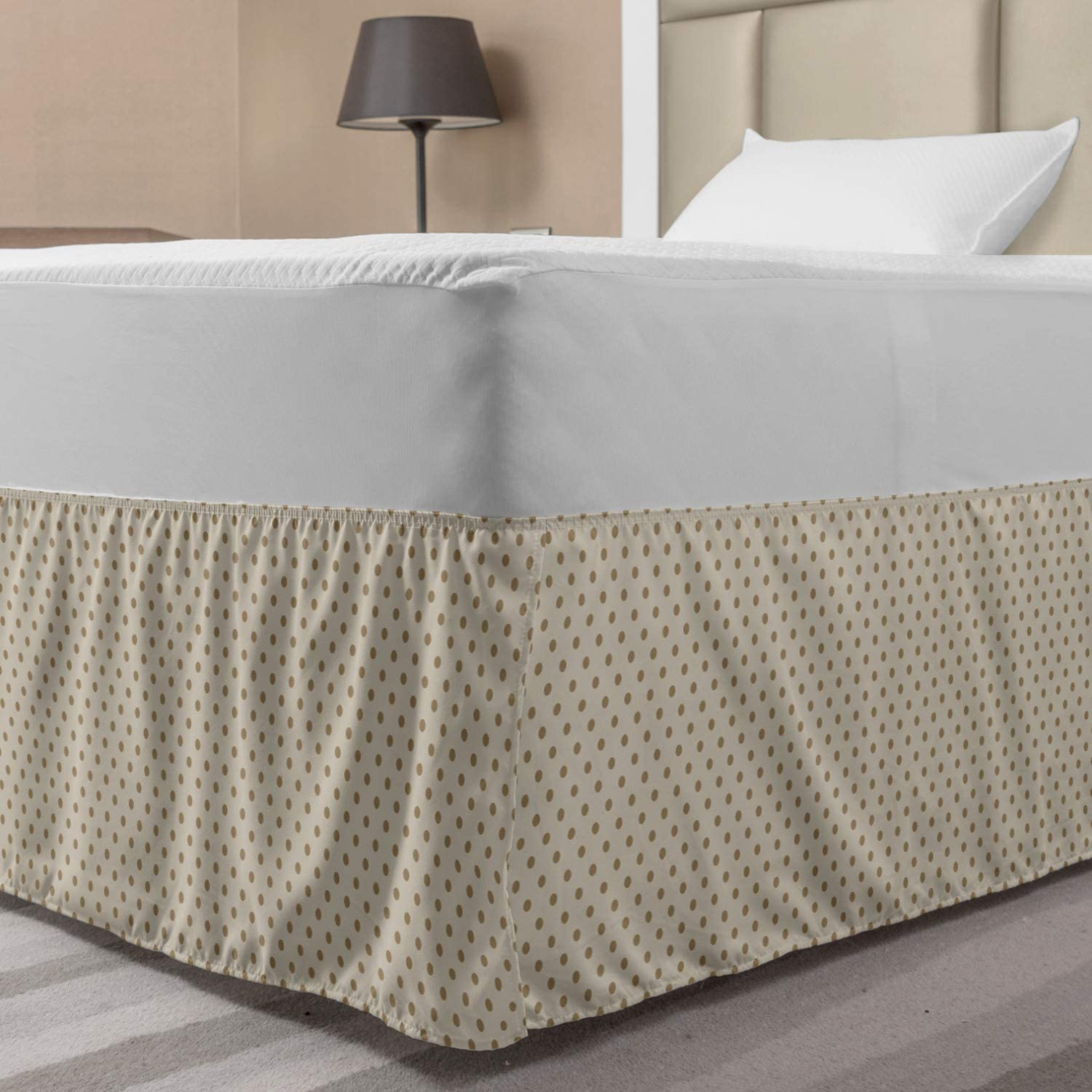 Ambesonne Beige Elastic Bed Skirt, Traditional Polka Dots Classical Motifs Abstract Composition Ornamental Retro Print, Wrap Around Fabric Bedskirt Dust Ruffle for Bedroom, Twin/Twin XL, Beige Tan
