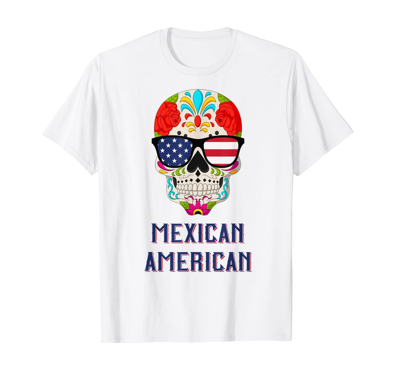 Mexican American - American Flag Sunglasses - Sugar Skull T-Shirt