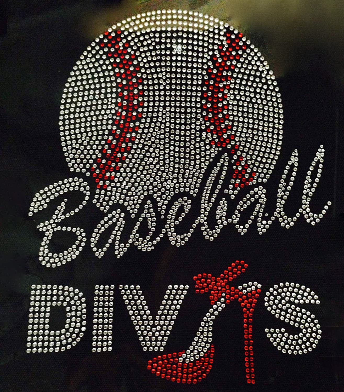 Baseball Divas heel Rhinestone Transfer Iron On - DIY