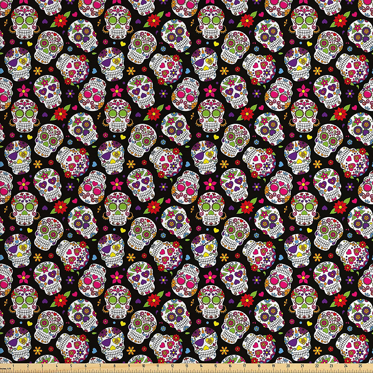 Ambesonne Sugar Skull Fabric by The Yard, Graveyard Mexico Design on Black Backdrop Print, Decorative Fabric for Upholstery and Home Accents, Multicolor
