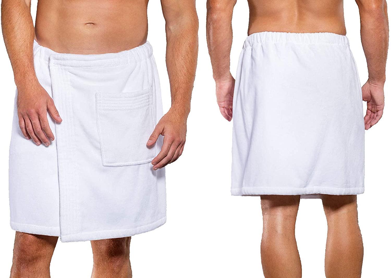 anatolian Men's Adjustable Wrap Around Body Towel for Bath Gym Spa/Cotton – Made in Turkey (2 Pack White)