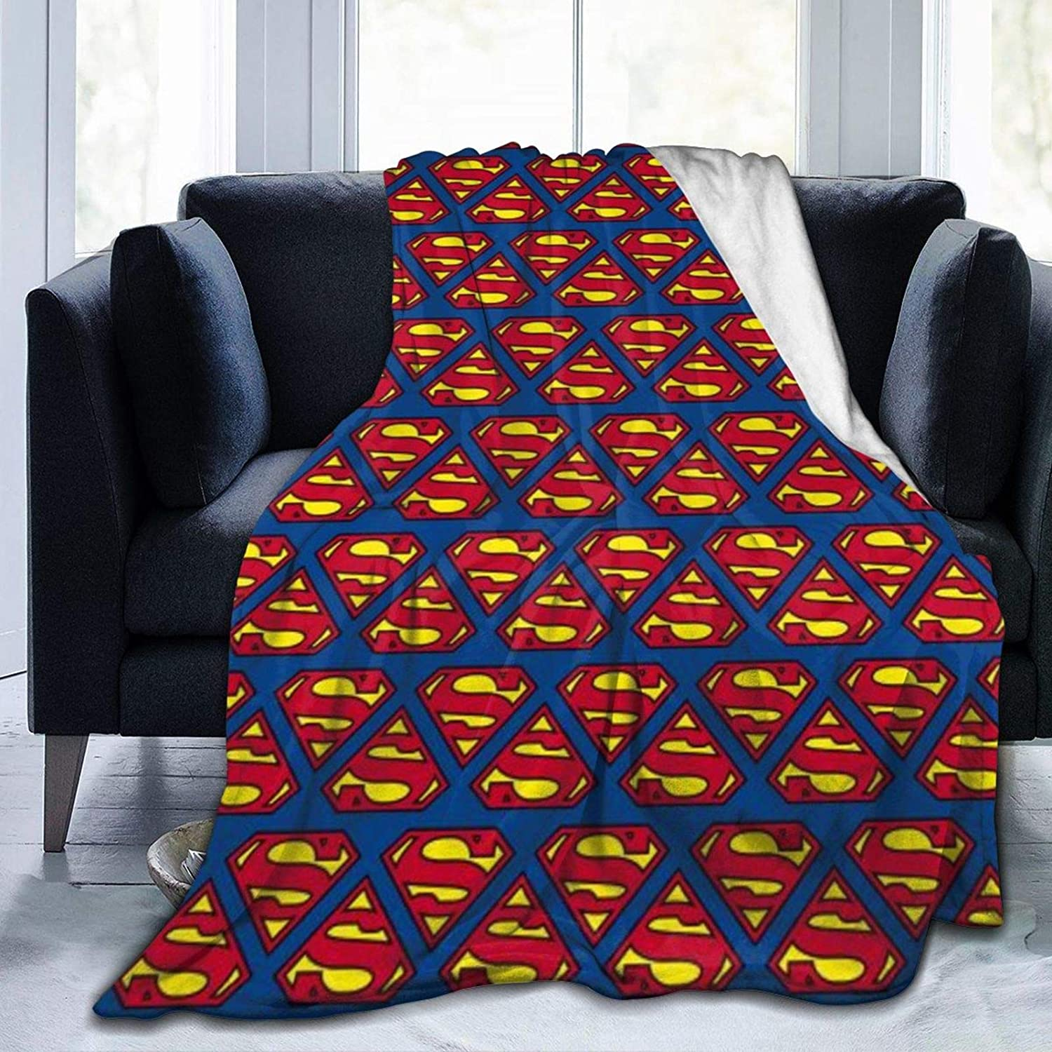 Bedais Luxury Blanket Superman Flannel Plush Blanket Fuzzy Soft Blanket Microfiber for Couch/Bed/Office,All Season Gifts