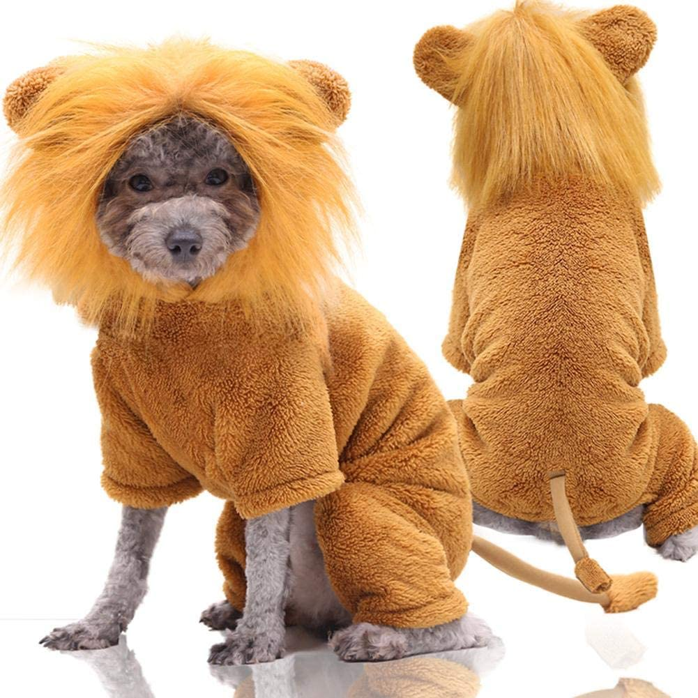 Dogs Costumes, Realistic Funny Dog Lion Mane, Dog Wig Halloween Costumes, Pet Warm Outfits | Pajamas Accessories for Halloween Party Winter, Lion Hair Dog Clothes Dress (XS-XXL)
