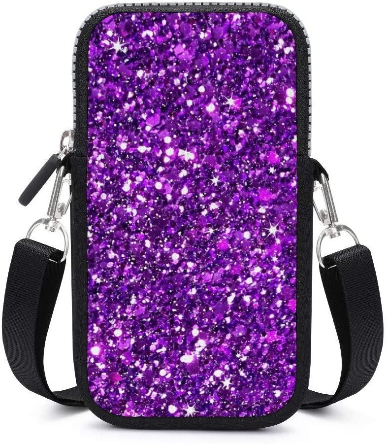 Women Girls Lightweight Soft Mini Pouch Shoulder Bag Small Crossbody Cell Phone Bag Handbag Purse Wallet with Adjustable Strap (Glitter Sparkles Shimmer Printing Purple)