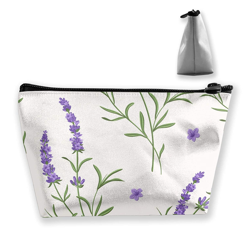 Women Purple Lavender Floral White Toiletry Bag Holder Multifunction Travel Makeup Train Case Casual Zipper Handbag Large Capacity For Makeup Brushes Digital Accessories Trip