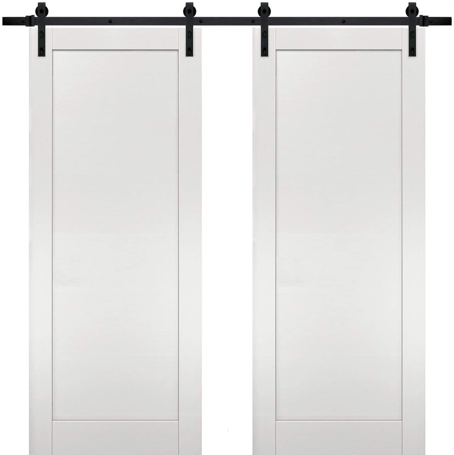Sliding Double Barn Doors 64 x 80 with Hardware | Quadro 4111 White Ash | Top Mount 13FT Rail Hangers Sturdy Set | Modern Solid Panel Interior Hall Bedroom Bathroom Door