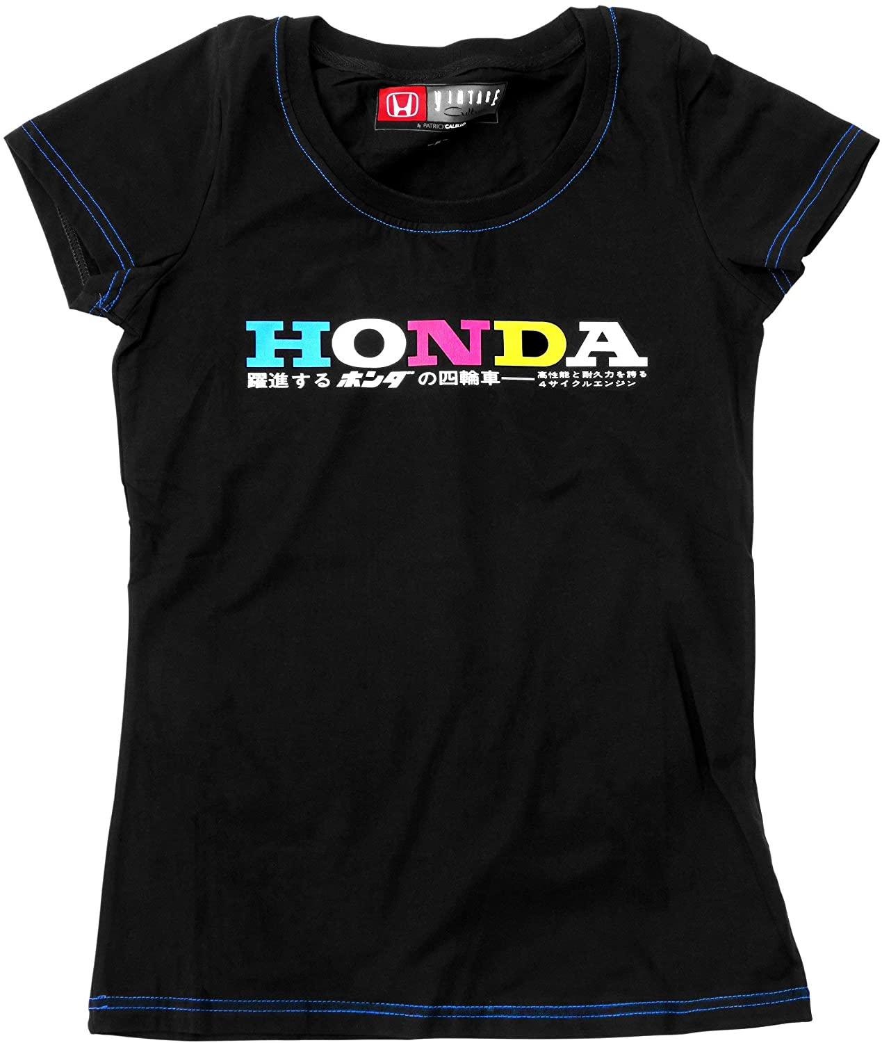 Vintage Culture Officially Licensed Honda Motors Brand Tee Shirt Womens Black