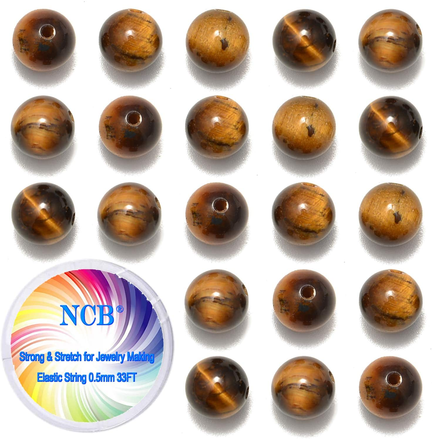 NCB 200pcs 6mm Yellow Tigers Eye Loose Beads for Jewelry Making, Natural Semi Precious Beads Round Smooth Gemstones Spacer Beads Charms for Necklaces Bracelets (Yellow Tigers Eye, 6mm 200Beads)