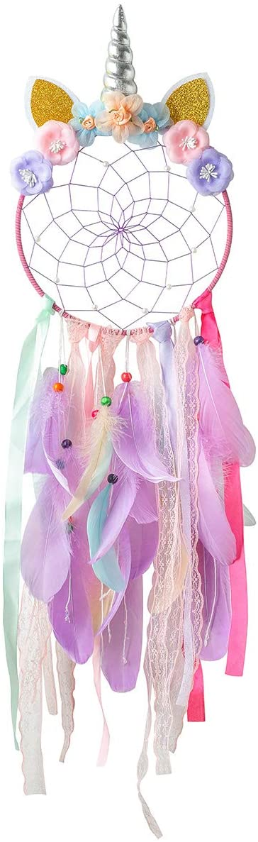 INONE Unicorn Dream Catchers with Colorful Flower and Feather, Girls Room Decor, Gifts for Girls (Purple)