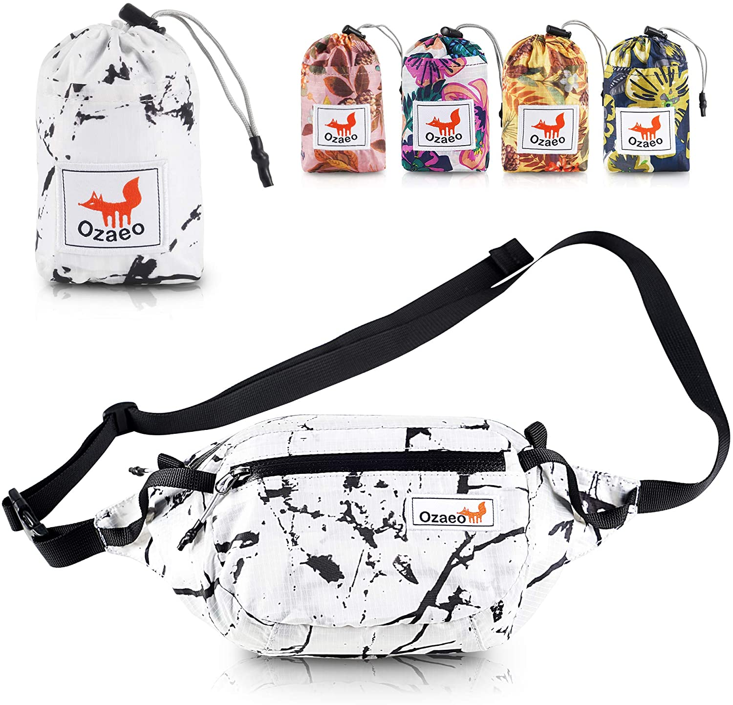 Ozaeo Travel Waist Bag, Water Resistant, Lightweight, Hiking Fanny Pack with 3-Zipper Pockets and Adjustable Strap