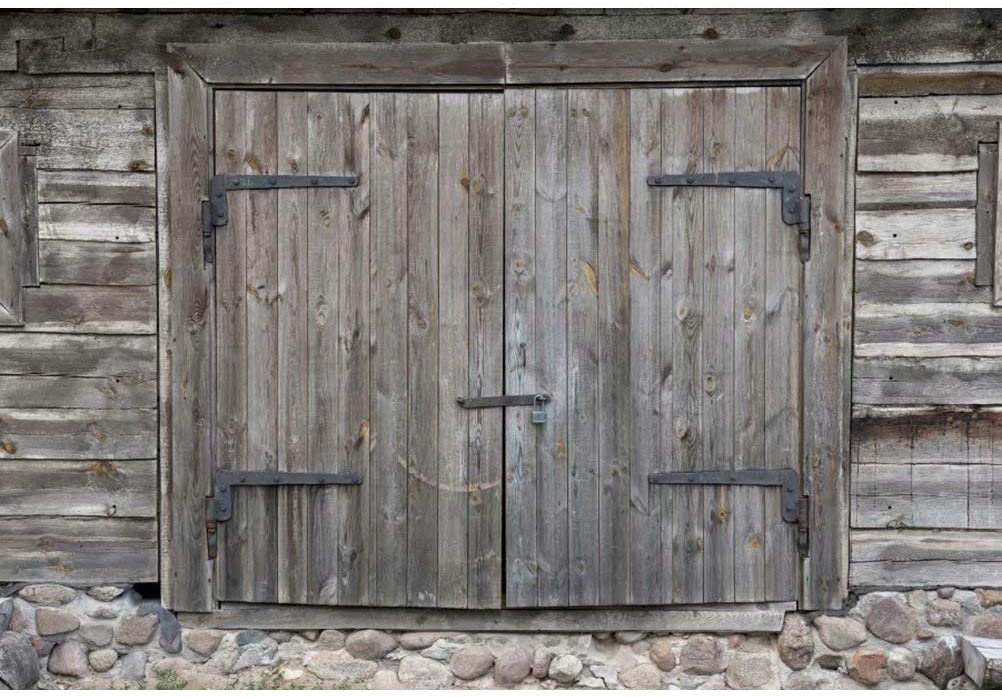 OFILA Farm Barn Door Backdrop 12x8ft Rustic Party Photography Background Countryside Concert Photos Rustic Wedding Background Cowboy Party Birthday Portraits Autumn Festival Photo Props