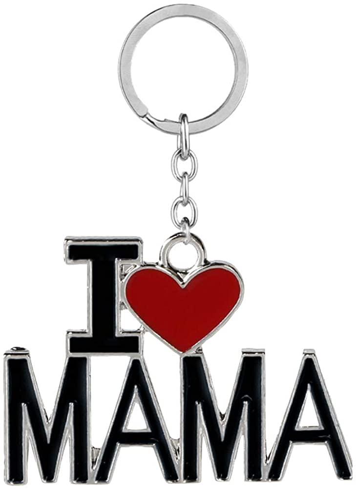 QTKJ I Love MAMA Keychain Red Heart Shape Key Ring Chain Handbags Purse Pendant Charm Gifts for Mom (Black)