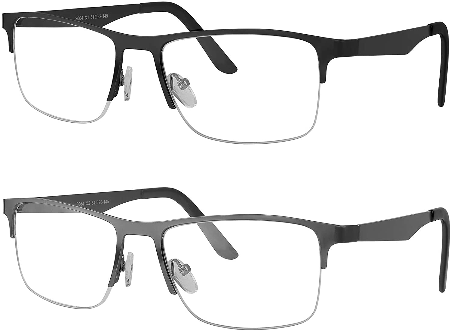 Yogo Vision Blue Light Glasses for Women and Men – Clear Lens Blue Blocker Glasses for Computer Reading and Gaming – Lightweight Metal Frames with Non-Polarized Plastic Lenses (2 Pack)