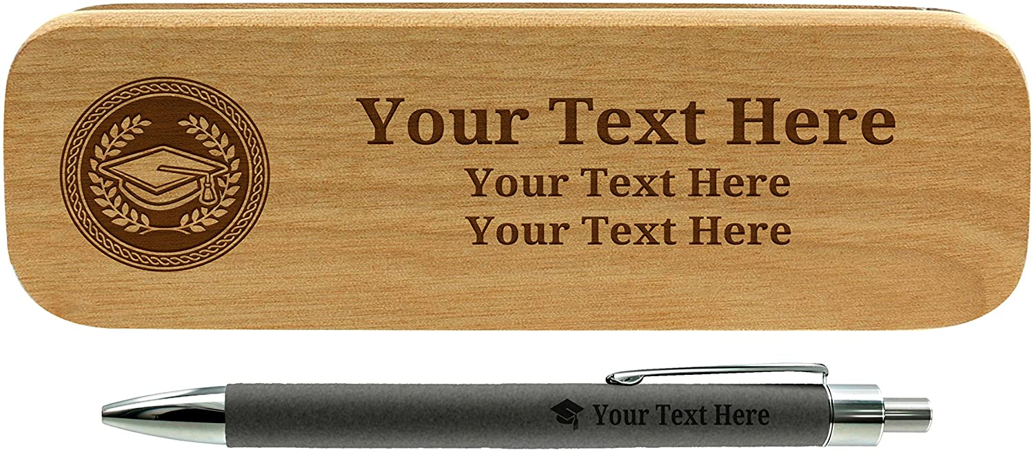 Personalized Grad Gifts Grad Gift Pen Personalized Engraved Gray Leatherette Gift Pen Wood Case Set