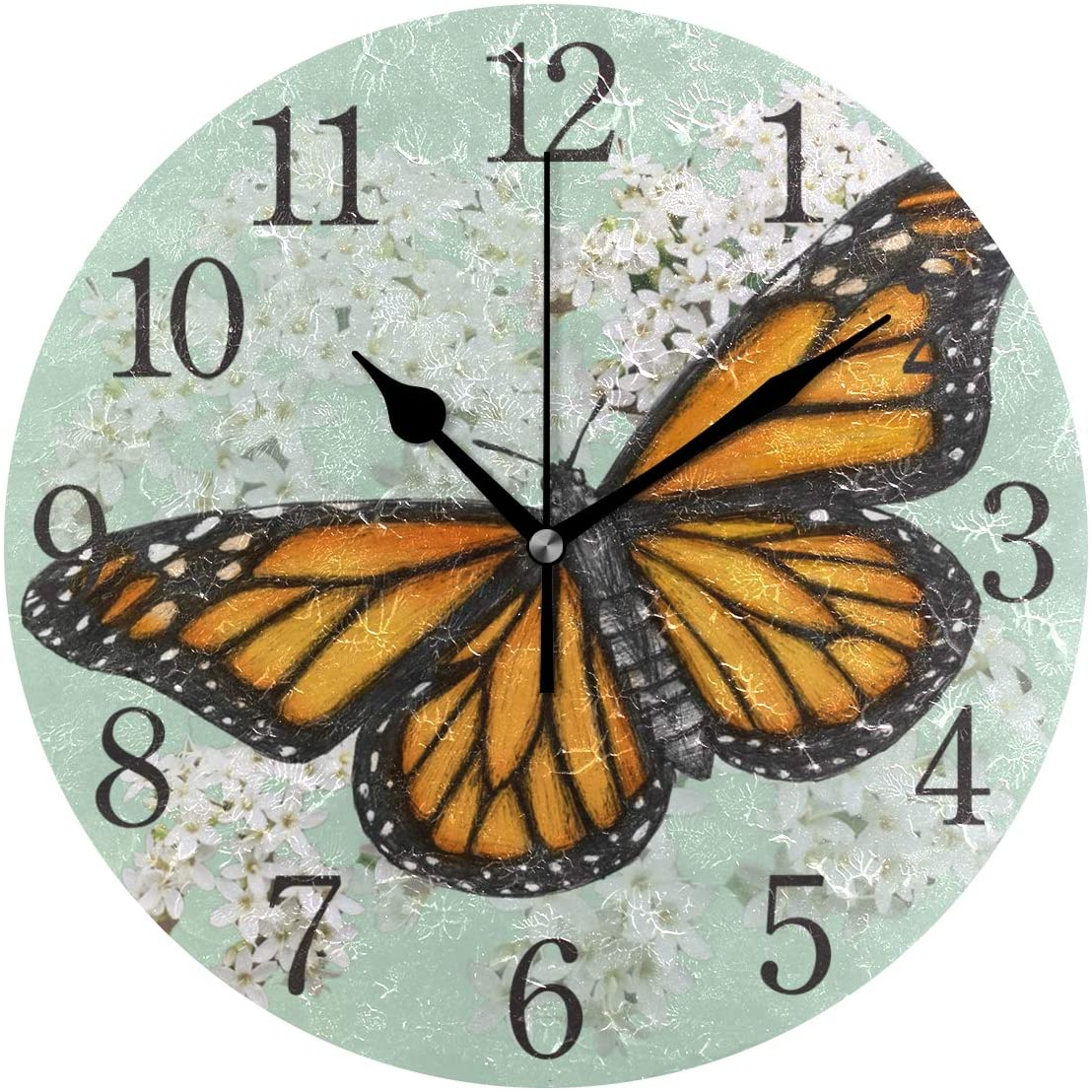 Wall Clock Monarch Butterfly Illustration Drawn in Pen with Digital Color Silent Non Ticking Operated Round Easy to Read Home Office School Clock