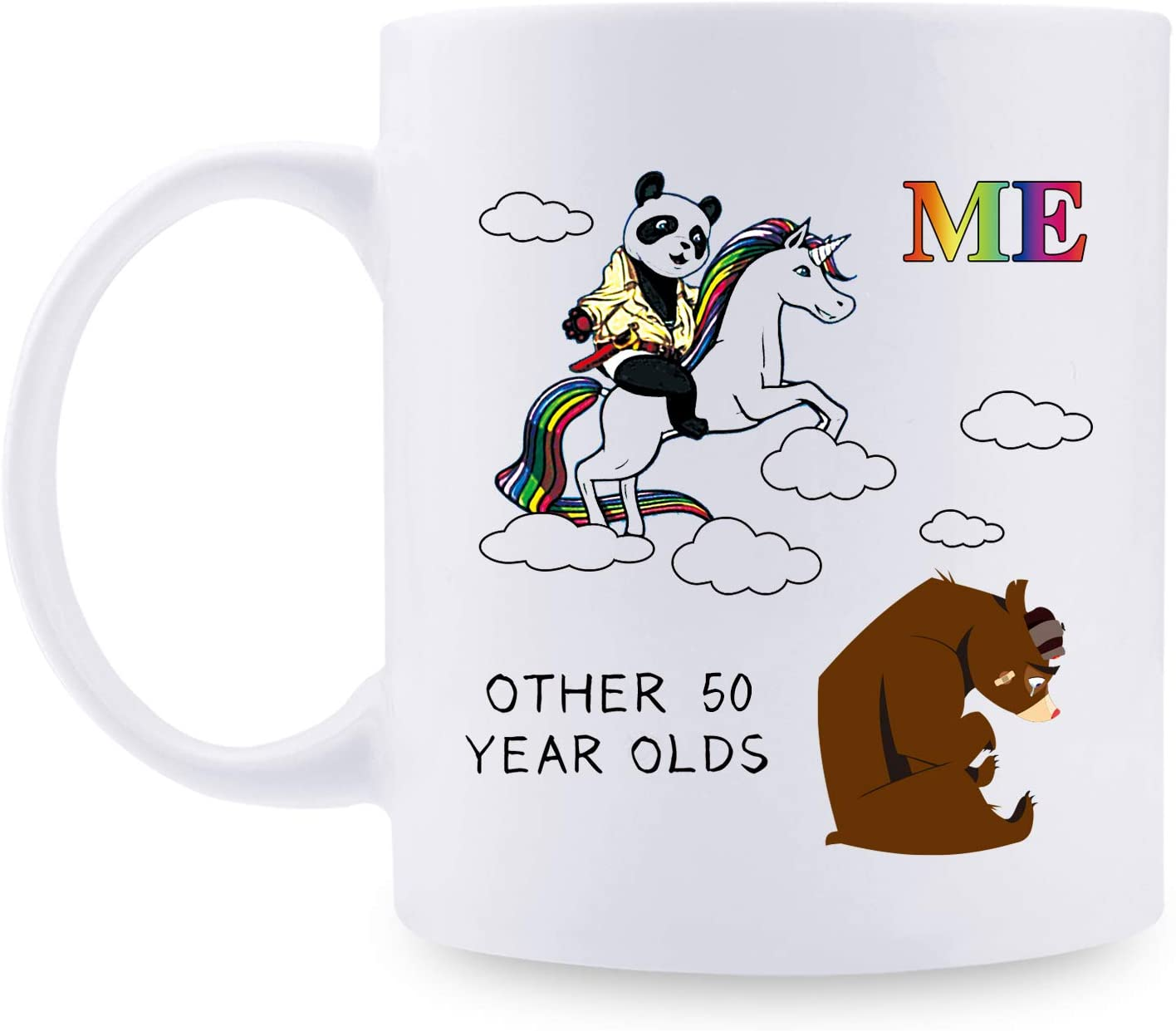 50th Birthday Gifts for Men - Panda Riding Unicorn Pandicorn Mug - 50 Year Old Men Gift Ideas for Dad, Husband, Son, Brother, Friend, Classmate, Colleague - 11 oz Funny Ceramic Coffee Tea Cocoa Mug