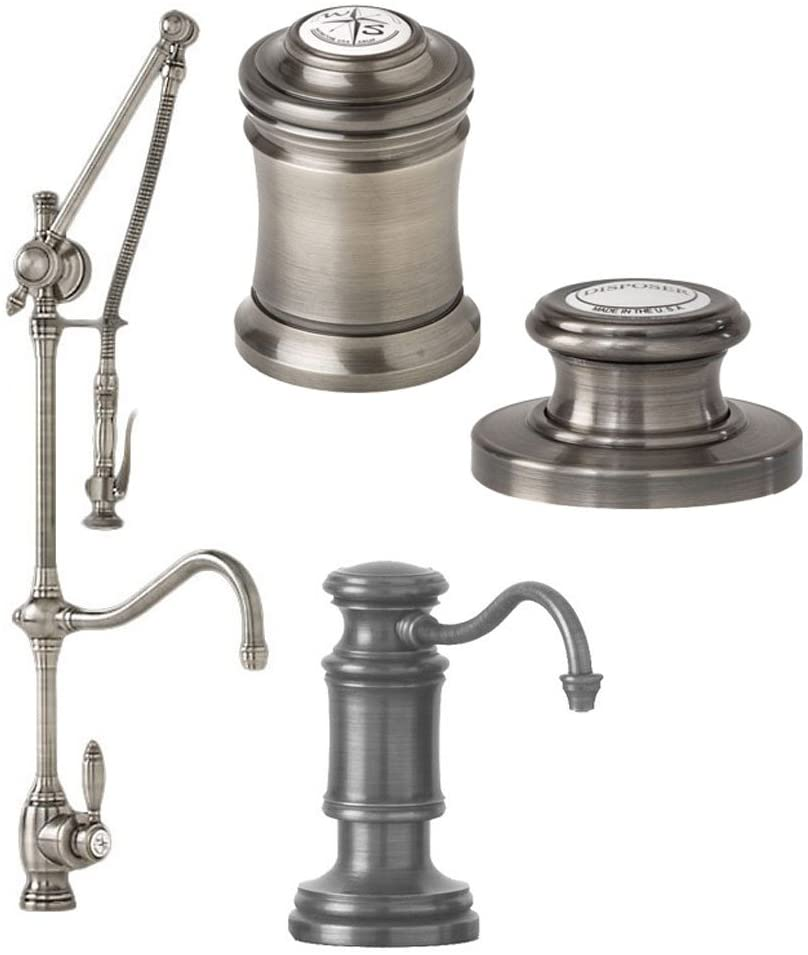 Waterstone 4400-4-CH Annapolis Kitchen Faucet Single Handle with Pull Out Spray and Soap/Lotion Dispenser and Air Switch and Air Gap 4PC, Chrome