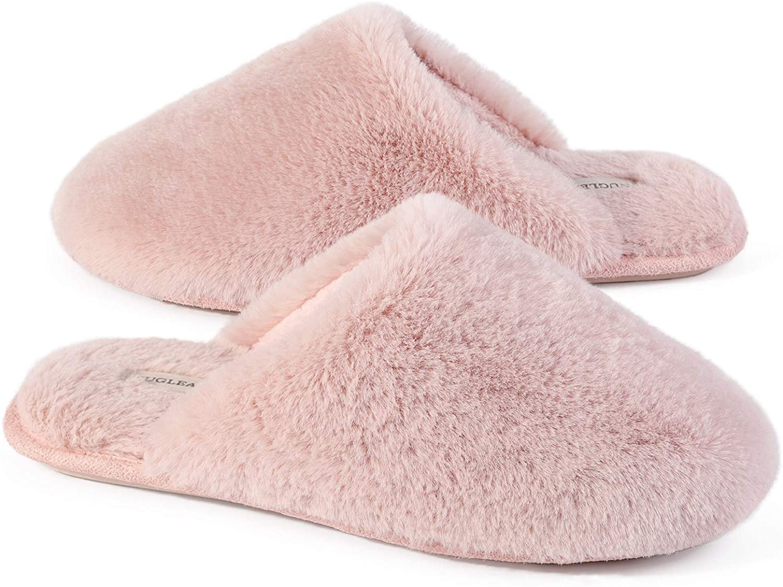 Snug Leaves Women's Fuzzy Memory Foam Slippers Faux Fur Lined House Shoes
