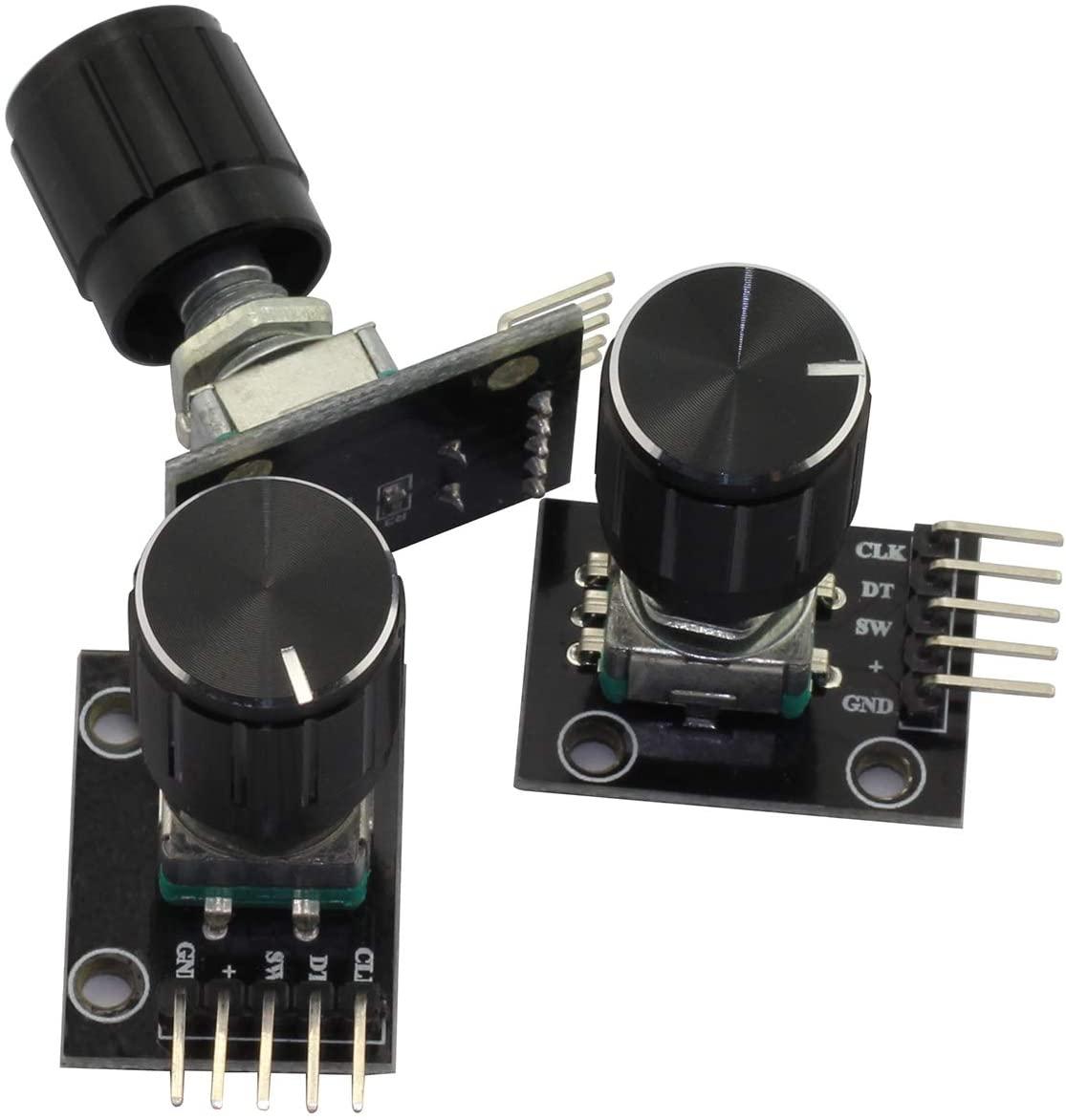 Magic&shell 3 PCS KY-040 Rotary Encoder Module Brick Sensor Development with Knob Cap for Arduino