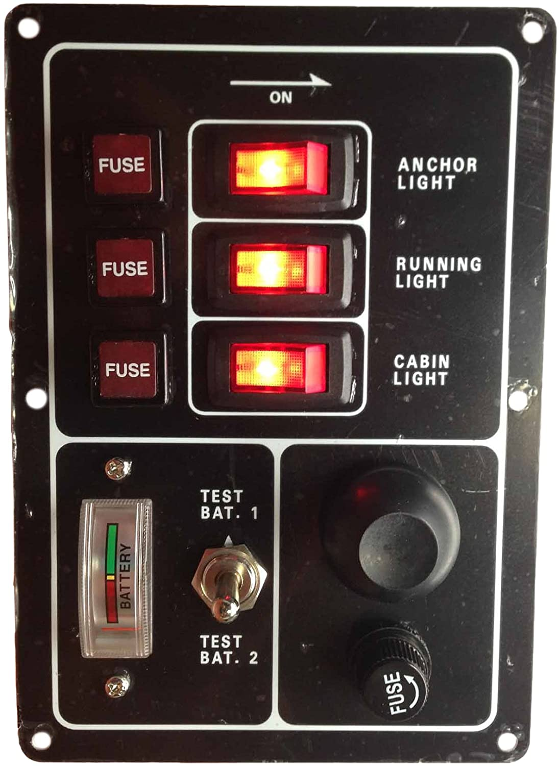 Pactrade Marine Boat Aluminum Switch Panel 3 Gang with Battery Tester & Horn Push Button