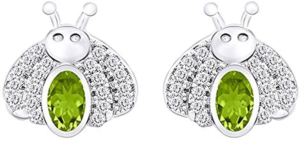 Ritika Created Oval Cut Green Peridot In 925 Sterling Silver 14K Gold Over Cute Bee Stud Earring for Women