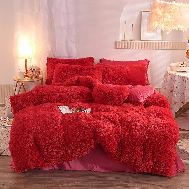 Glamorous Faux Fur Fluffy Duvet Cover Set Plush Shaggy Comforter Cover,4 Pieces Super Soft Flannel Crystal Velvet Red Bedding Set King (1 Duvet Cover+1 Flat Sheet+2 Pillowcases) GB07-RD-K
