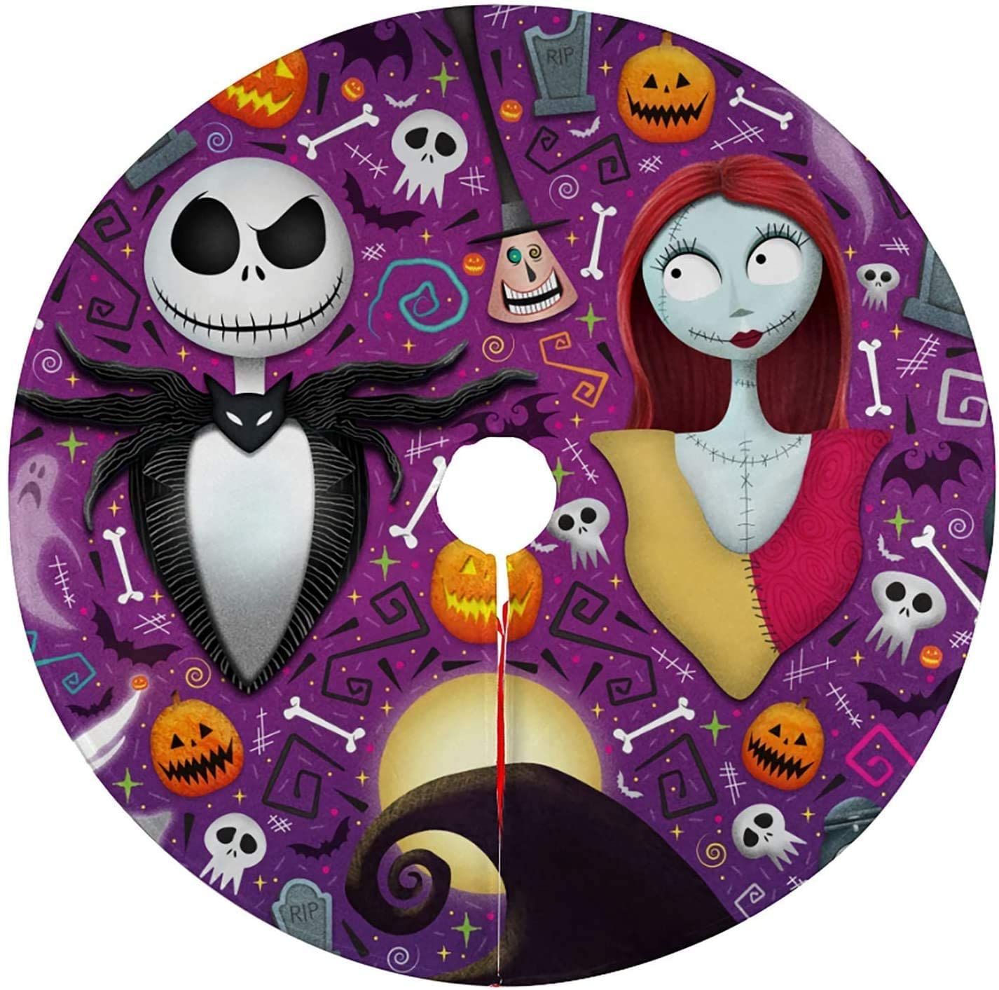 Hlashxh The Nightmare Before Christmas Tree Skirt Kits Mat Decorations Hall-oween Holiday Party Decoration (Nightmare Christmas6 48in)
