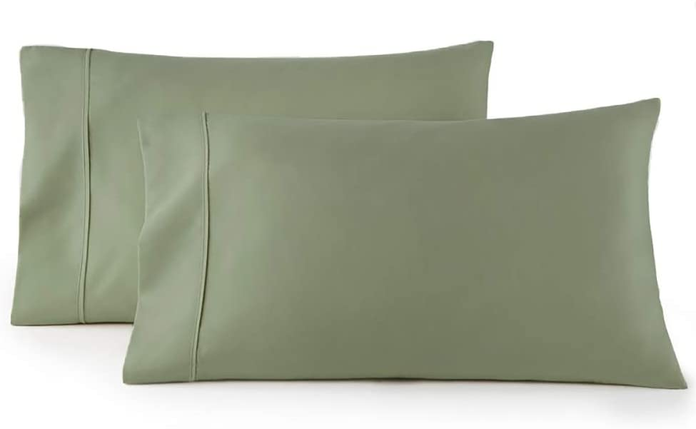 Royal Tradition Solid 300 Thread Count, 100 Percent Cotton King Pillow Cases, Set of 2, Sage, Soft Pair of Pillowcases