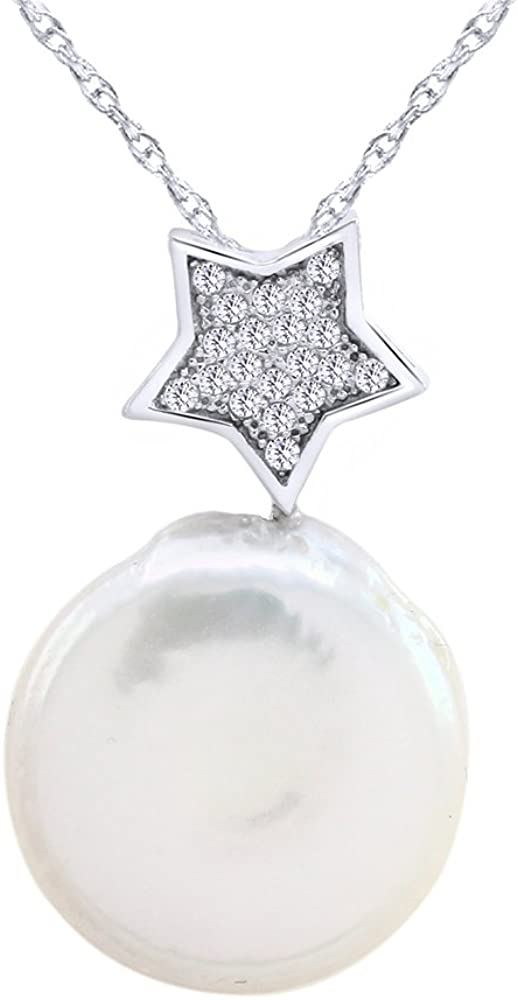 Wishrocks Mother of Pearl & White Cubic Zirconia Drop Pendant Necklace in Sterling Silver