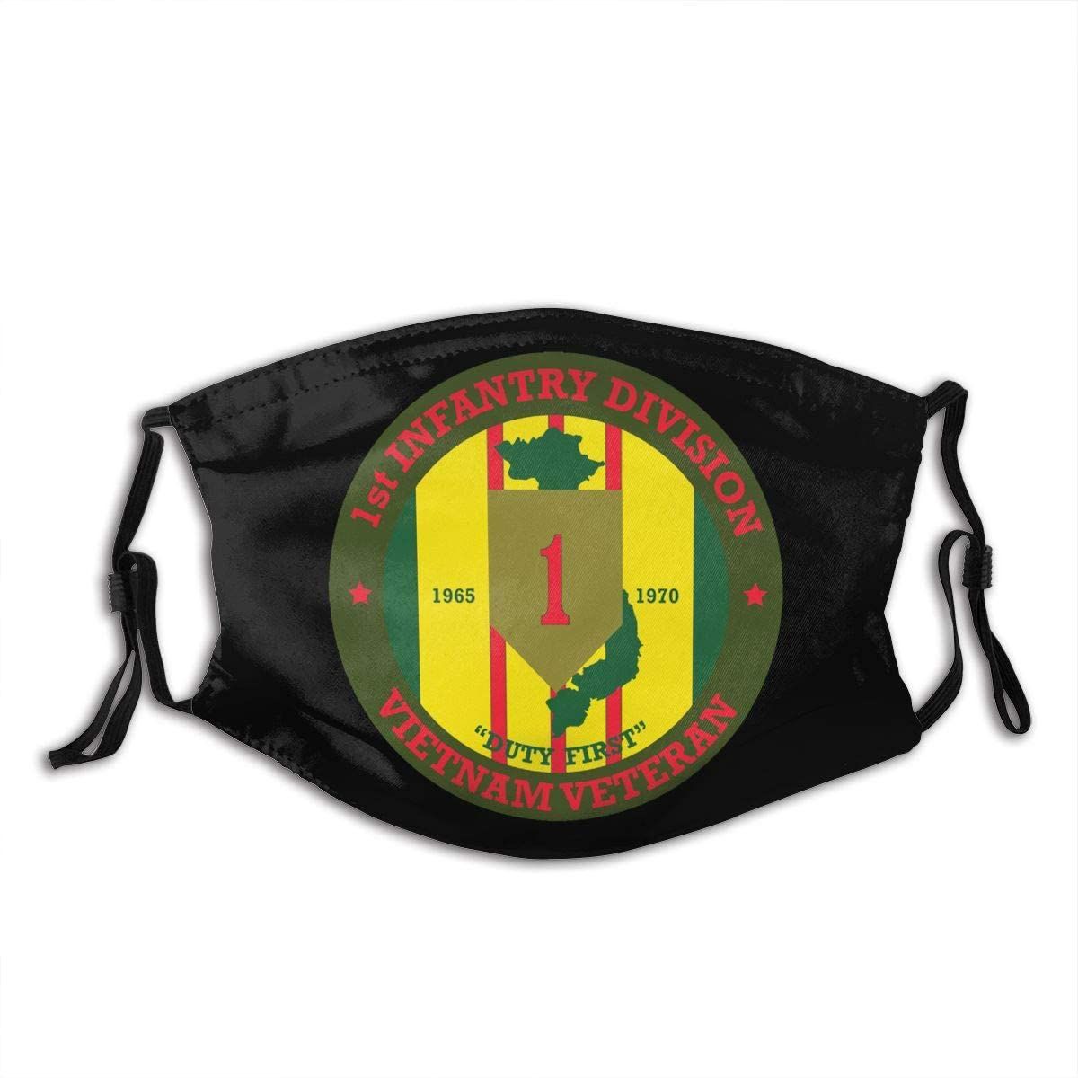 1st Infantry Division Vietnam Veteran Pm2.5 Face Bandanas Dust Scarf,M-Shaped Nose Clip,Equipped With Two Replaceable Activated Carbon Filters Adjustable For Men And Women.
