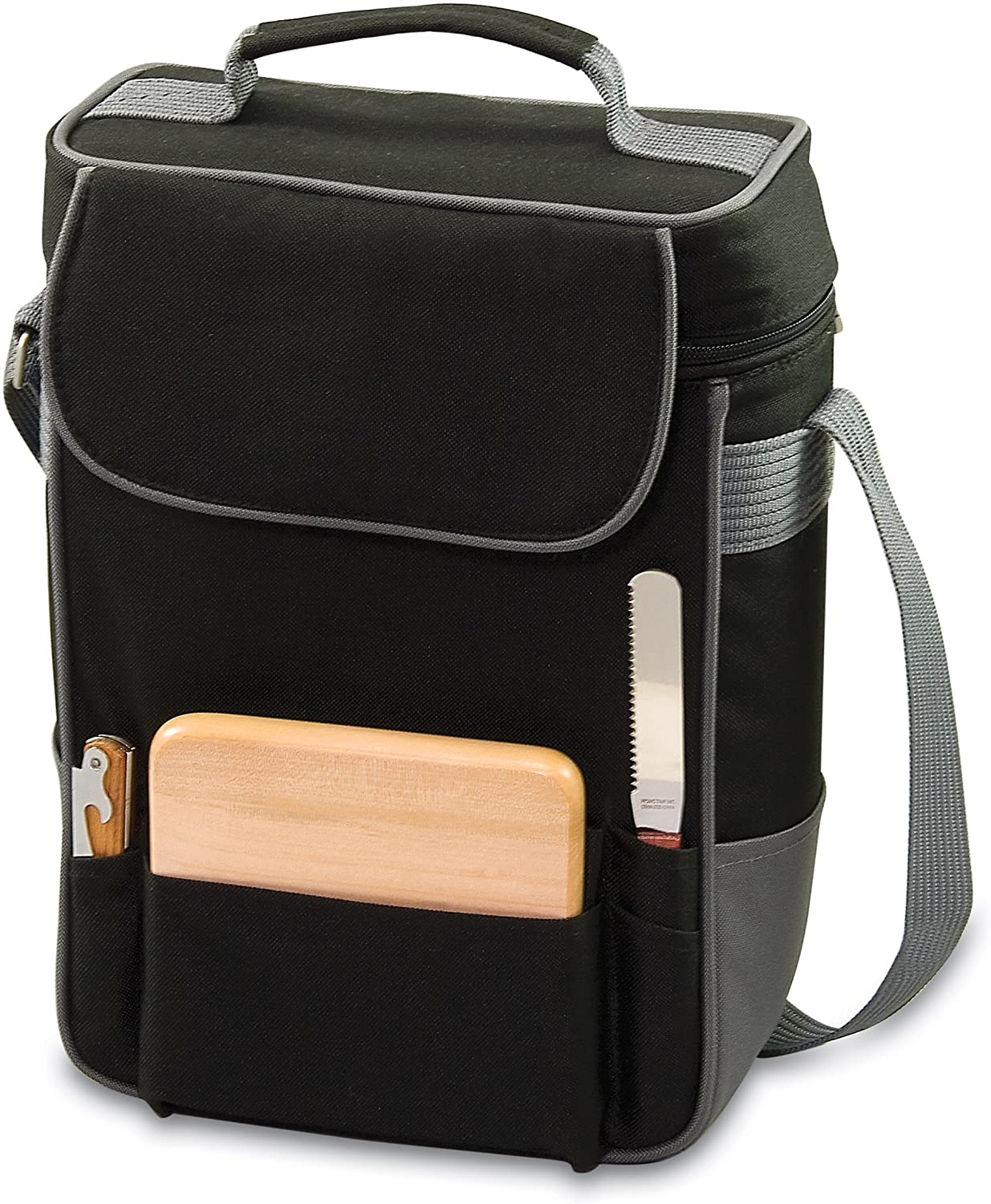 LEGACY - a Picnic Time Brand Duet Insulated Wine and Cheese Tote, Black and Silver