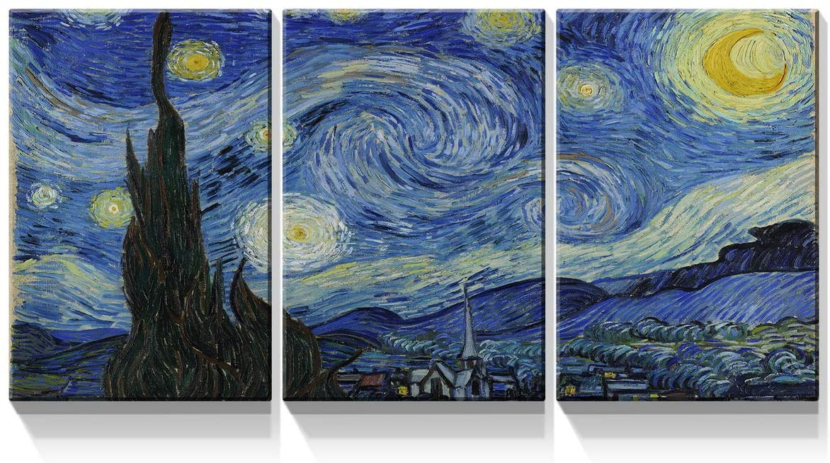 Denozer -3 Piece Canvas Wall Art - Starry Night, Vincent Van Gogh Art Reproduction. Giclee Canvas Prints Stretched and Framed for Living Room Home Office Decor Ready to Hang - 12