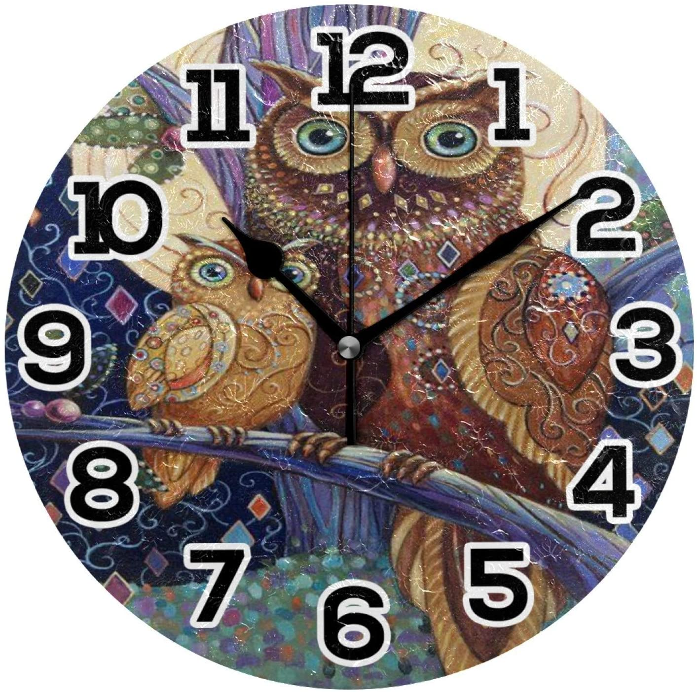 weijin Round Wall Clock 10 Inch Vintage Floral Owl Silent Non Ticking Quartz - Battery Operated Wall Clock, Silent Clocks for Home Decor Living Room, Bathroom, Office