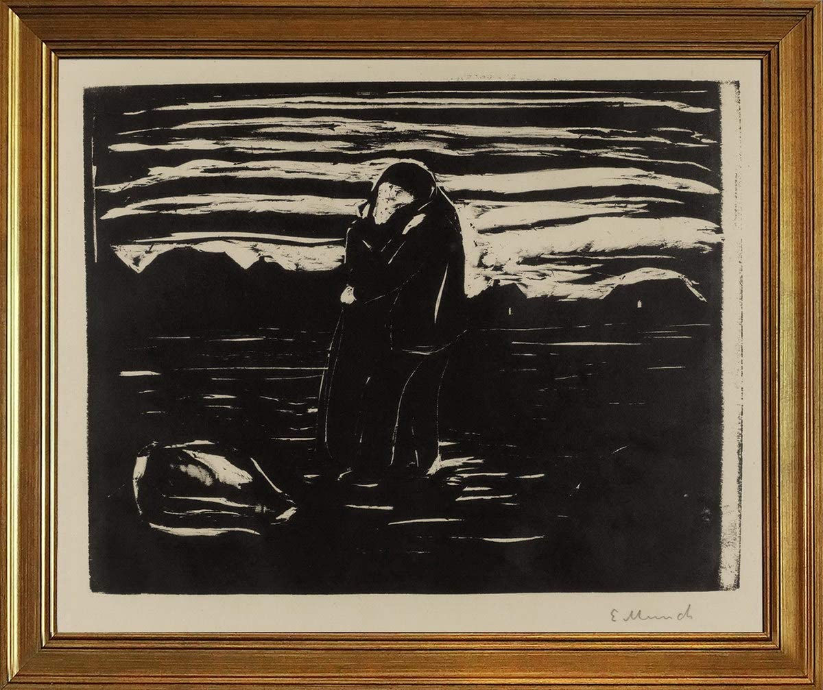 Berkin Arts Classic Framed Edvard Munch Giclee Canvas Print Paintings Poster Reproduction(Kiss in The Field SCH) #JK
