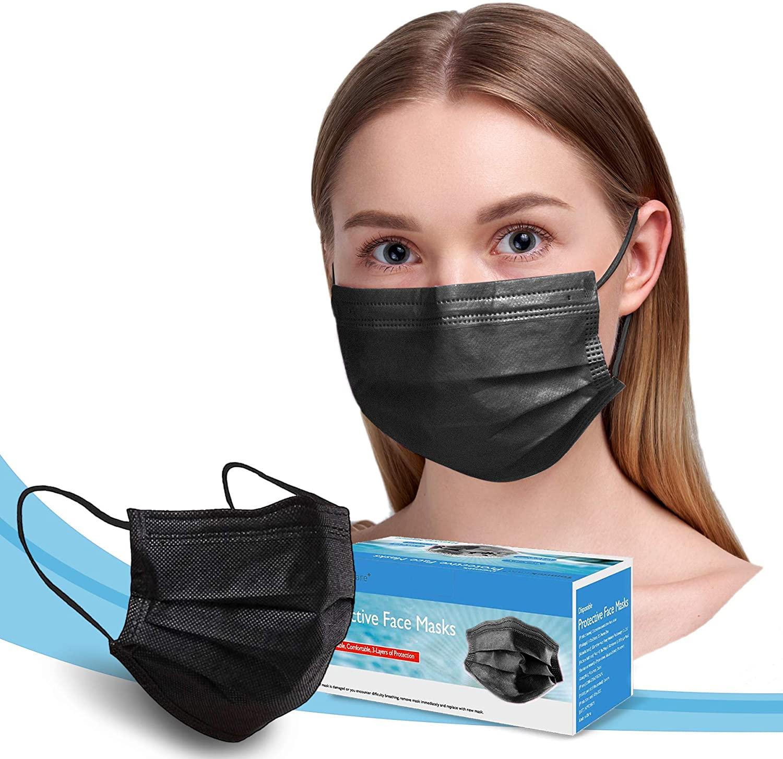 Disposable Face Masks, 50 PCS Breathable Face Mask, 3-Ply(Black)