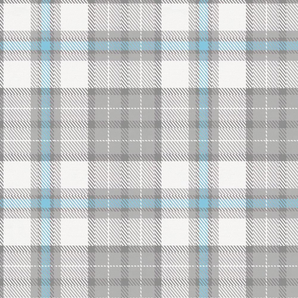 Carousel Designs Lake Blue and Gray Plaid Fabric by The Yard - Organic 100% Cotton