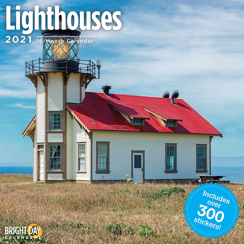 2021 Lighthouses Sticker Wall Calendar by Bright Day, 12 x 12 Inch, Beach Landscape
