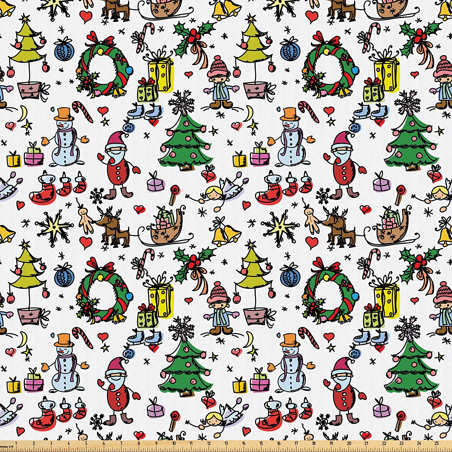 Lunarable Nursery Fabric by The Yard, Christmas Elements Present Boxes Cheerful Celebration Snowman Santa Claus, Microfiber Fabric for Arts and Crafts Textiles & Decor, Multicolor