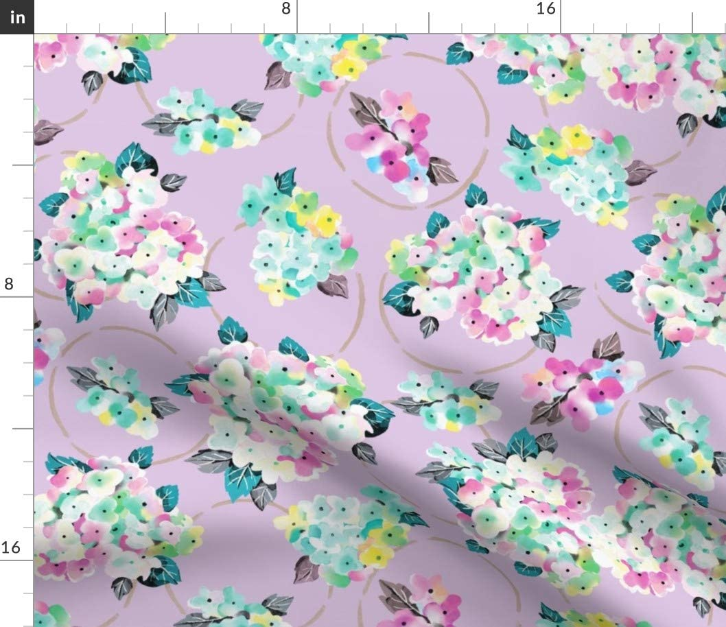 Spoonflower Fabric - Purple Floral Watercolor Nursery Turquoise Pretty Lavender Bouquet Printed on Cotton Poplin Fabric by The Yard - Sewing Shirting Quilting Dresses Apparel Crafts