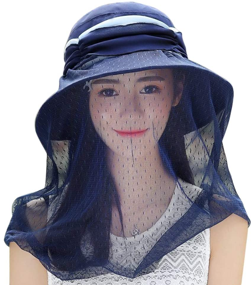 LIOOBO Outdoor Anti-Mosquito Head Net Hat Anti-UV Flap Cap with Head Net Mesh Face Protection Fishing Hats Blue