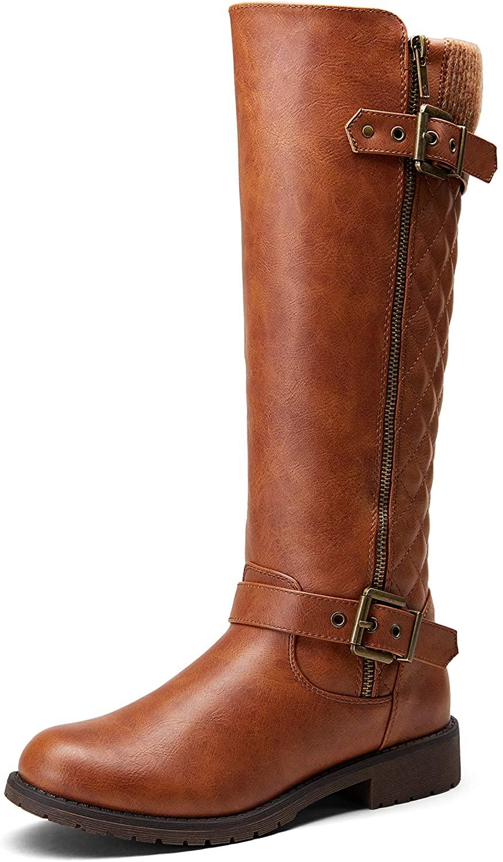 JEOSSY Womens 45 Knee High Riding Boots Calf Winter Knitting Wool Boot