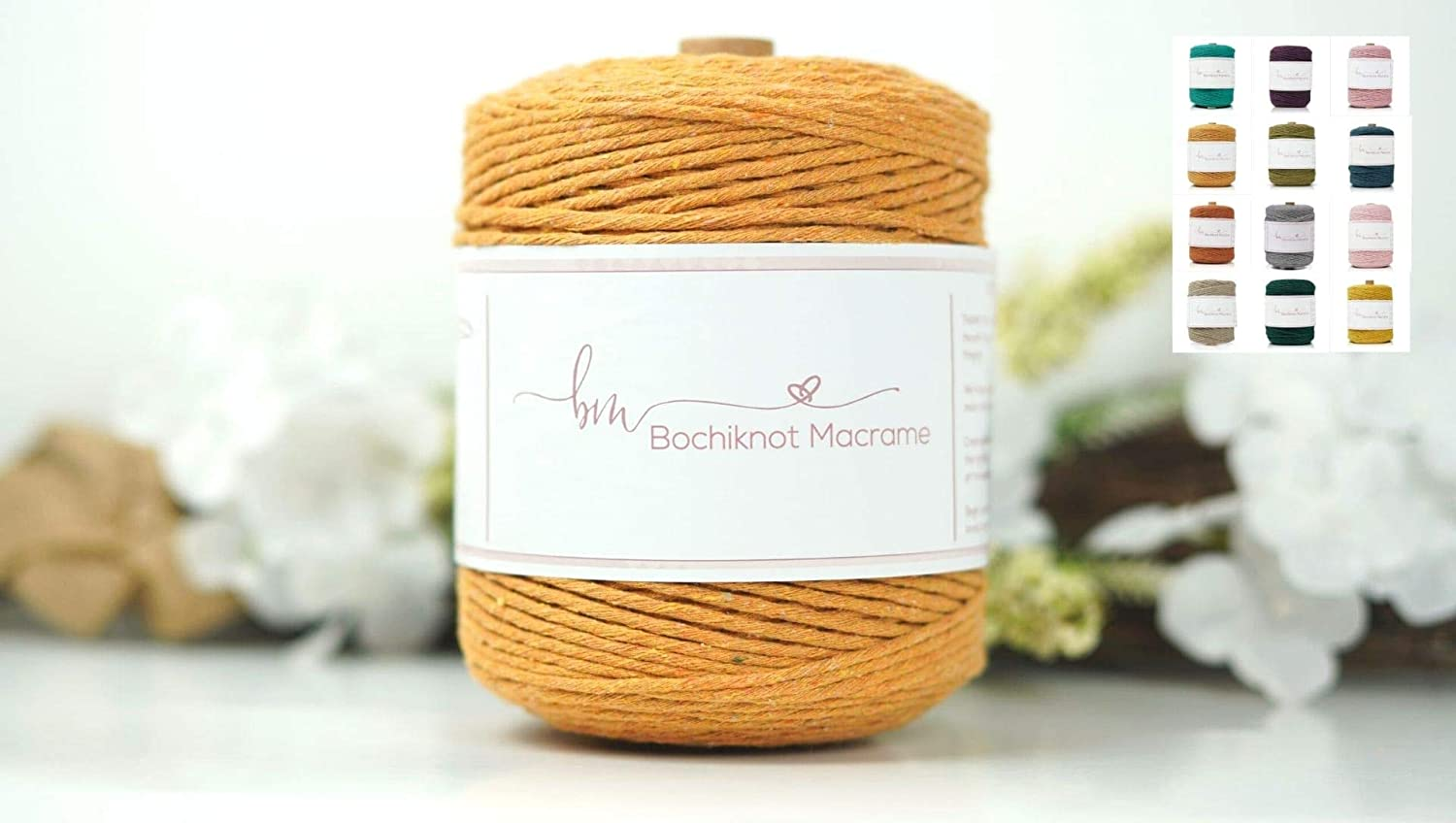 Bochiknot Macrame |100% Natural Cotton Cord, 5mm x 500 feet | Soft Rope Colored Twisted String Yarn for Craft Kits, Art Supplies, Knot Materials, Plant Hangers, Wall Hangings (Squash, 150 Yards)